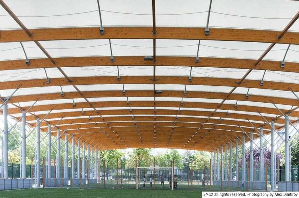 terrain multisports couvert - architecture textile