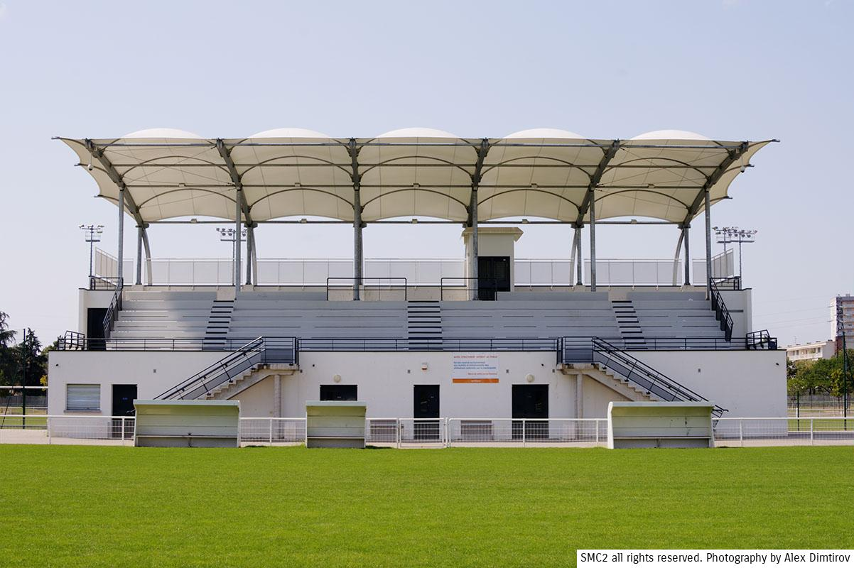 GRANDSTAND TENSILE FABRIC STRUCTURE WOOD CONSTRUCTION TEXTILE ARCHITECTURE