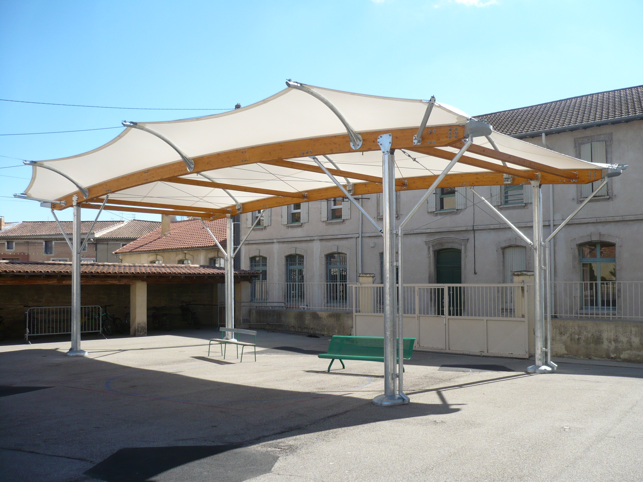 Covered school playground construction