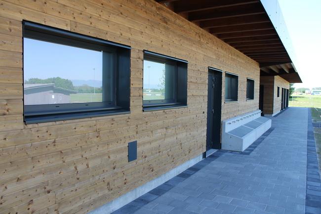 Wood sports hall construction