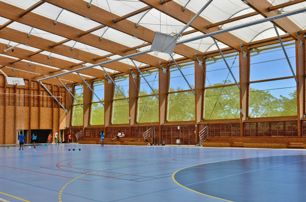 Construction sport hall tensile membrane
