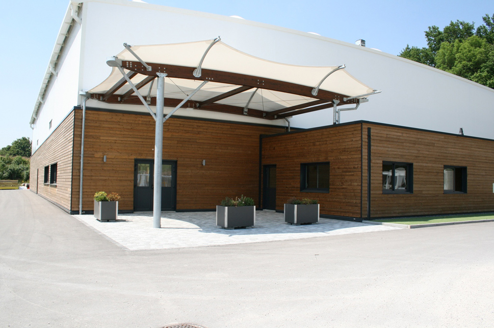 Construction sport hall tensile membrane