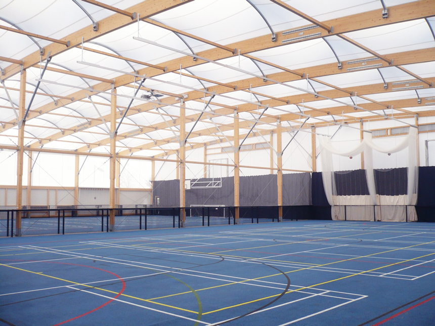 Construction tennis hall fabric architecture