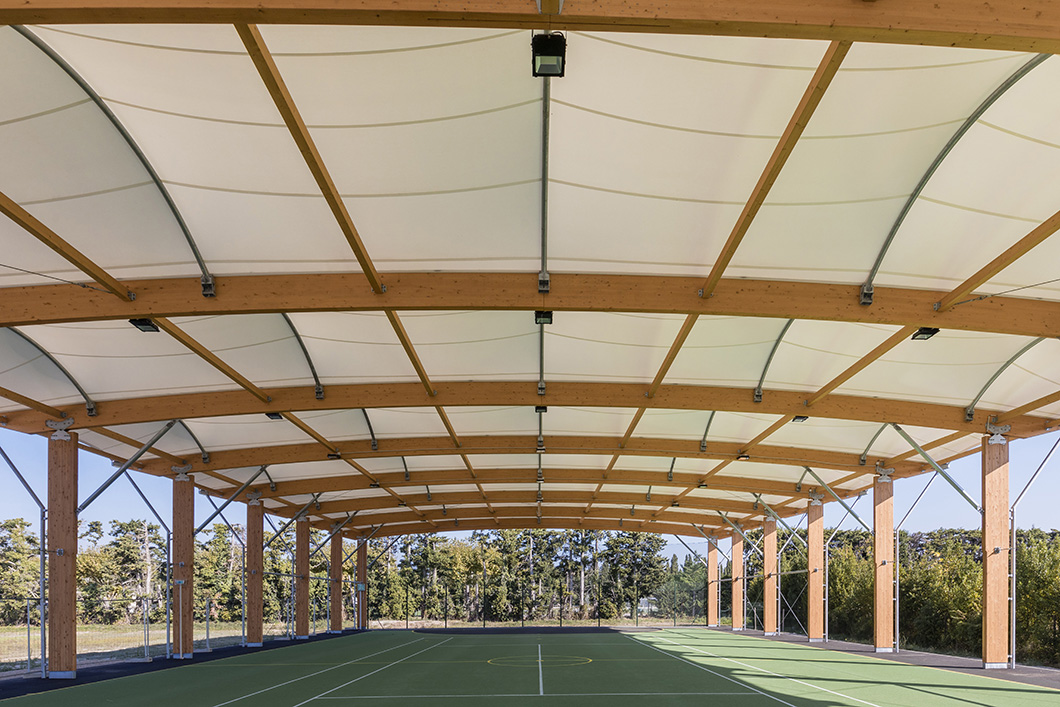 SOCCER PITCH WOOD CONSTRUCTION TEXTILE ARCHITECTURE