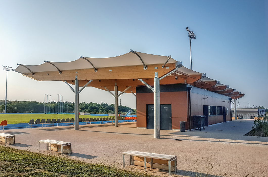 GRANDSTAND TENSILE FABRIC STRUCTURE WOODEN CONSTRUCTION TEXTILE ARCHITECTURE