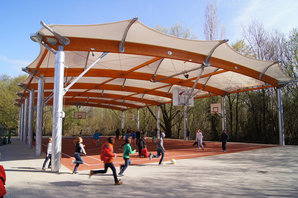 COnstruction covered school playground tensile membrane